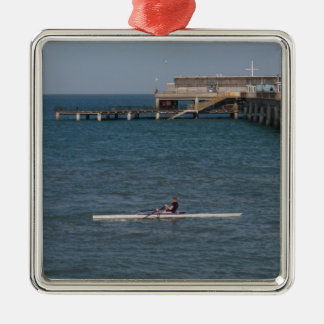 Sculling On The Sea Metal Ornament