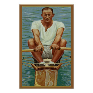 Sculling Rowers Rowing Vintage Sports Mens Athlete Posters