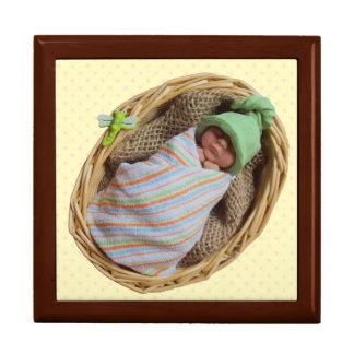 Sculpted Baby in Basket:  Green Elf Hat: Clay Keepsake Box