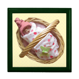 Sculpted Baby in Basket: Pink Elf Hat: Clay Jewelry Box