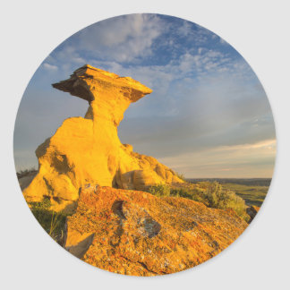 Sculpted Badlands Formation In Short Grass Classic Round Sticker