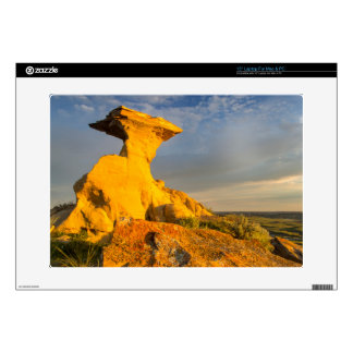 Sculpted Badlands Formation In Short Grass Decal For Laptop