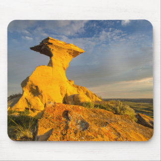 Sculpted Badlands Formation In Short Grass Mouse Pad