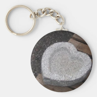 sculpted Heart shap bowls granite gry Basic Round Button Keychain