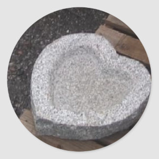 sculpted Heart shap bowls granite gry Classic Round Sticker