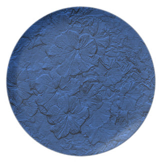 Sculpted Petunias, Blue Melamine Kitchen Plate
