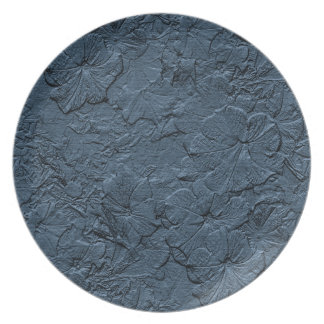 Sculpted Petunias, BlueGray Melamine Kitchen Plate