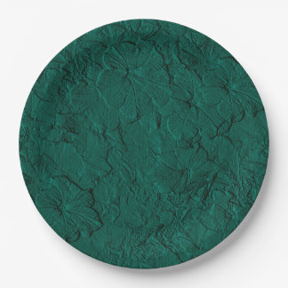 Sculpted Petunias Jade Green-Paper Party Plates