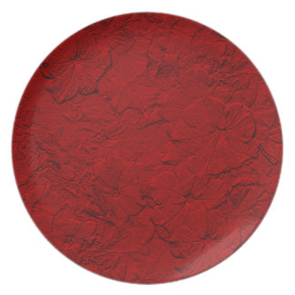 Sculpted Petunias, Red Melamine Kitchen Plate