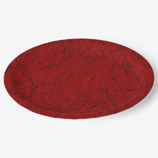 Sculpted Petunias Red-Paper Party Plates