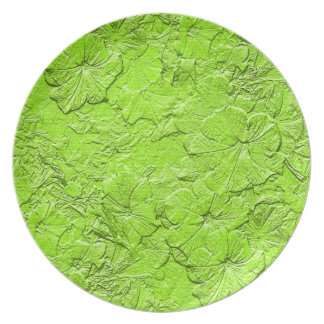 Sculpted Petunias,Sp.Green Melamine Kitchen Plate
