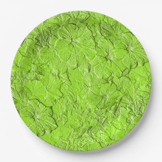 Sculpted Petunias Spring Green-Paper Party Plates