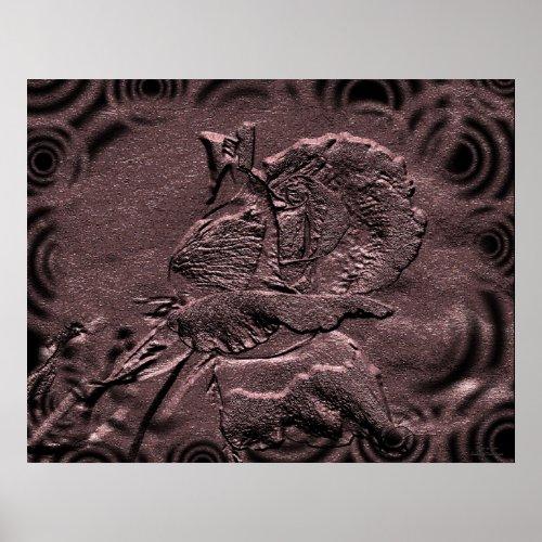 Sculpted Rosebud Floral Print print