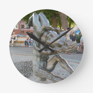 Sculpture in Rostock Germany Round Clock