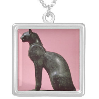 Sculpture of a cat, Late Period Silver Plated Necklace