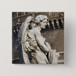 Sculpture of Angel with garment and dice on Sant Pinback Button