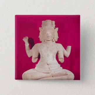 Sculpture of Brahma with four faces 2 Button