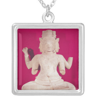 Sculpture of Brahma with four faces 2 Silver Plated Necklace