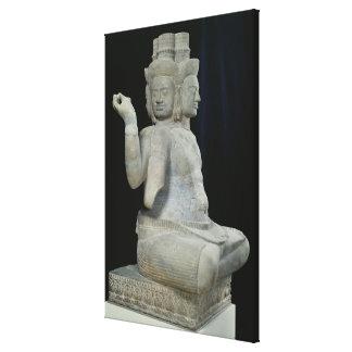 Sculpture of Brahma with four faces Canvas Print