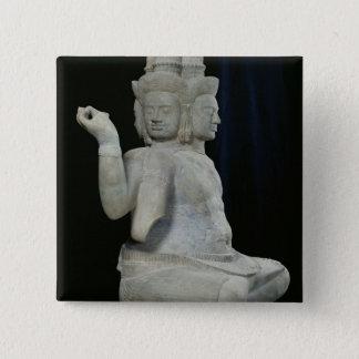 Sculpture of Brahma with four faces Pinback Button