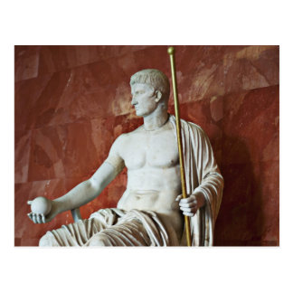 Sculpture of Roman man with ball and Staff Post Card