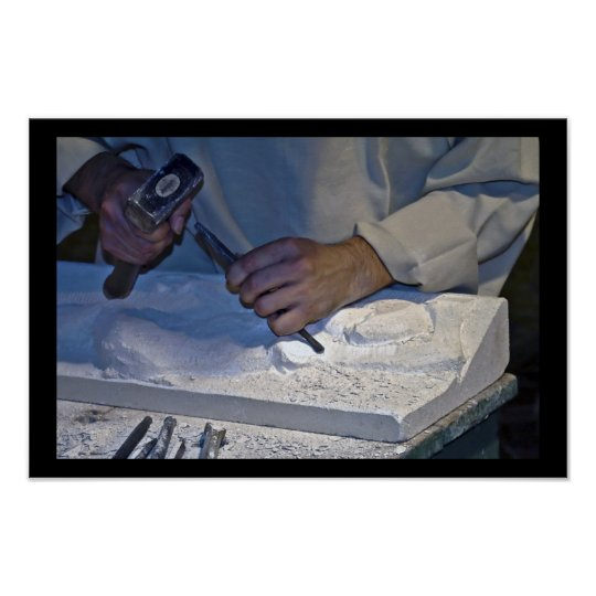 sculpture stone hammer manual work poster
