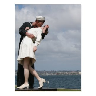 Sculpture Unconditional Surrender in San Diego Postcard
