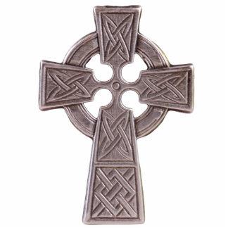 Sculptured Celtic Cross Pin Photo Sculpture Button