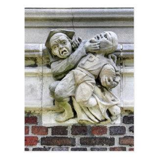 Sculptured Stone Art Football Players Postcard