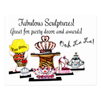 Sculptures for Parties, Gifts & Awards! Below Ad & Postcard