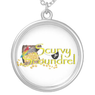 Scurvy Scoundrel Text w/Pirate Treasure Chest Personalized Necklace