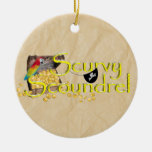 Scurvy Scoundrel Text w/Pirate Treasure Chest Christmas Ornament