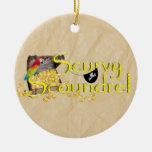 Scurvy Scoundrel Text w/Pirate Treasure Chest Christmas Ornament