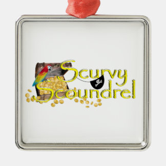 Scurvy Scoundrel Text w/Pirate Treasure Chest Christmas Ornaments