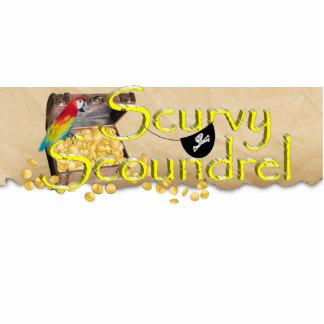 Scurvy Scoundrel Text w/Pirate Treasure Chest Standing Photo Sculpture