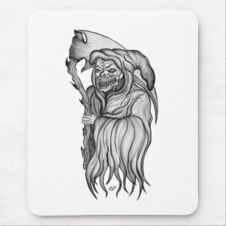 Scythe man - The Death black and white Design Mouse Pad
