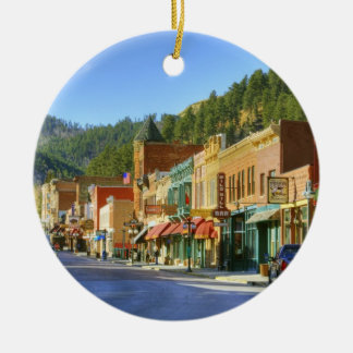 SD, Deadwood, Historic Gold Mining town Ceramic Ornament