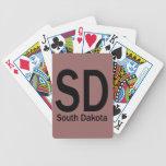 SD South Dakota plain black Bicycle Poker Cards