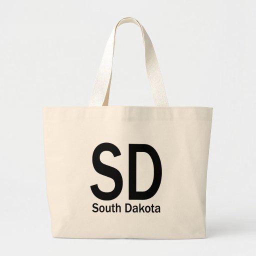 SD South Dakota plain black Canvas Bag