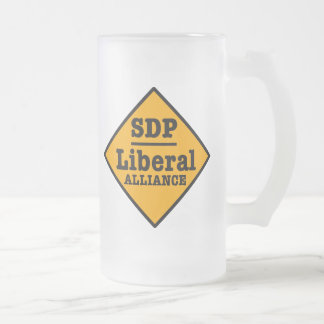 SDP Liberal Alliance Sign Frosted Glass Beer Mug