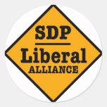SDP Liberal Alliance Sign Round Sticker