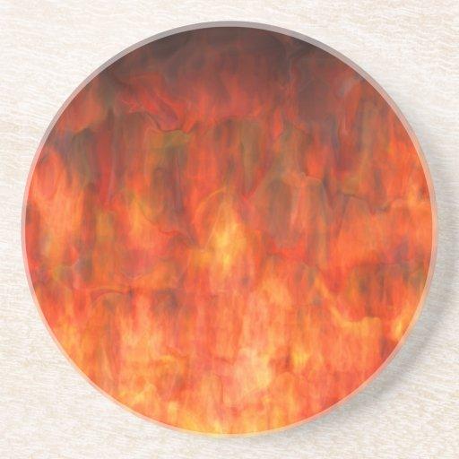 ¡Se arde! Llamas del arte abstracto del infierno Posavasos Manualidades