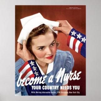 Se convierte una enfermera que su país le necesita posters