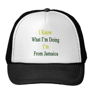 Sé cuál soy haciendo yo soy de Jamaica Gorras De Camionero