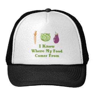 Sé de adónde mi comida viene gorras