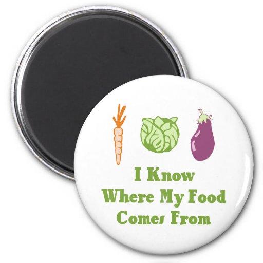 Sé de adónde mi comida viene imán de nevera