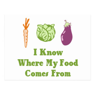 Sé de adónde mi comida viene tarjeta postal