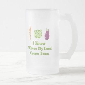 Sé de adónde mi comida viene tazas de café
