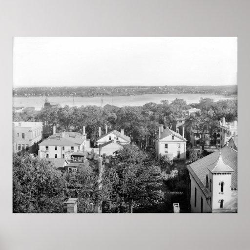 SE de Portland, Maine del hotel 1910 del cuadrado  Póster