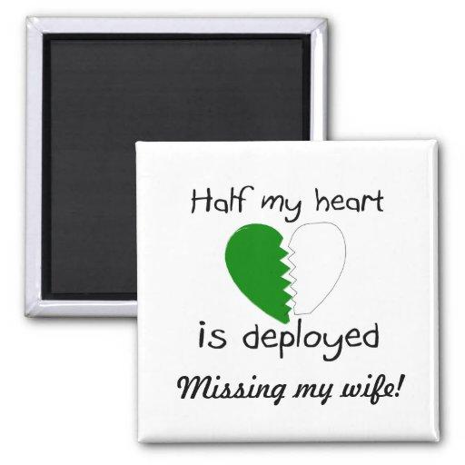 Se despliega la mitad de mi corazón (el verde) imán cuadrado